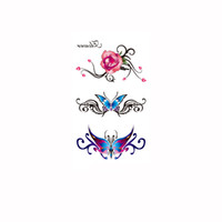 rose tattoos - Temporary Tattooing Paper Waterproof Body Art Temporary Tattoos Tattoo Sticker Rose Butterfly Pattern H12814