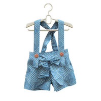 Wholesale Brand designer girls shorts with suspenders summer new style overall shorts with braces kids