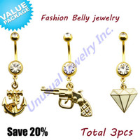 Wholesale Unusual Stainless Steel Classic Gem Anchor Gun Dangling Gemmed Clear CZ Gem Belly Navel Rings Stud Piercing Body Jewelry
