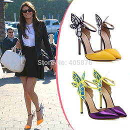 Wholesale Sexy Colorful Wedges - Wholesale-2015 European New Fashion Women Sexy 11cm High Heels Ankle Strap Sandals Colorful Butterfly Heeled Party Shoes Woman Dress Pumps