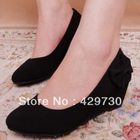 Wholesale New Fashion Fashion Bow Wedges Work Shoes Lady s OL Formal Shoes Mother Comfortable Casual Shoes Pumps