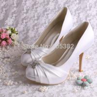 shoes dropship - Colors Custom Handmade Platform Wedding Shoes White for Lady Closed Toe Satin Pumps Dropship