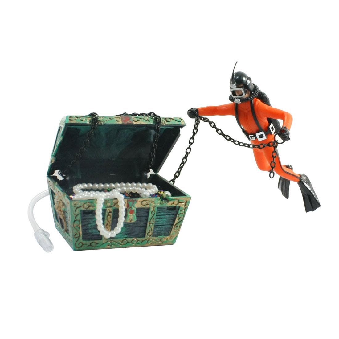 Online cheap underwater landscaping treasure chest diver for Fish tank treasure chest