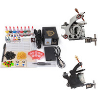 Cheap Top 2 Machine Guns Tattoo Complete Kit with Smart Pointer Power and 8 Color Ink