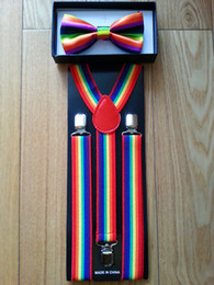 Wholesale youth Unisex Clip on Braces Elastic Y back Suspender and bow ties set rain bow pattern