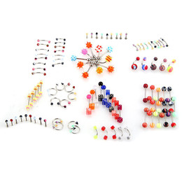 Wholesale 105x Mix Flexible Nose Navel Tongue Piercing Bar Barbell Body Jewelry