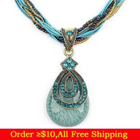 Wholesale Mix Items Bohemia Fashion Opal Crystal Flower Water Drop Beads Rope Turquoise Pendant Necklace