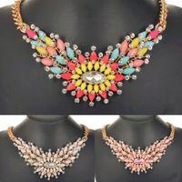 Wholesale fashion bijoux for women color flower statement necklace crystal rhinestone luxury bib collar shourouk necklace pendants