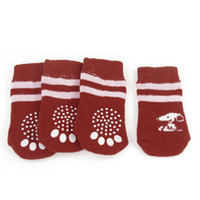 Wholesale 4 Red Pink Paw Print Non Slip Bottom Warm Pet Dog Puppy Socks Size M