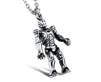 Wholesale Film and television works titanium steel iron man personality necklace Men s stainless steel necklace gift robot