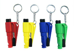 Wholesale 50pcs in Mini car safety hammer keychain rescue tool keychain emergency hammer broken Windows escape tool