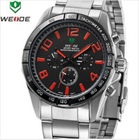 Cheap Japan Quartz Movement 30 meters water resistant fashion sport watch for men, stainless steel band, high quality WEIDE 2303