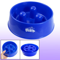 Wholesale 2 Inch Depth Blue Plastic Dog Cat Pet Slow Feed Bowl Feeder Dish