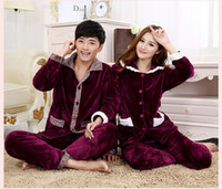 Cheap Wholesale-2015 NEW winter Thicken Sexy long sleeves Solid color nightgown Flannel coral velvet Sleepwear Sleep Dress Sets Coat+pants