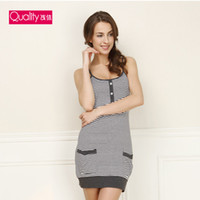 Cheap Wholesale-2015 summer new fashion woman's grey stripe Sling vest nightgowns cotton+ modal