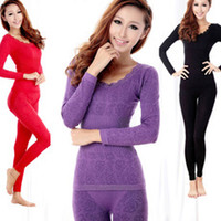 bamboo pajamas women - Winter Bamboo Model Thin Long Johns Women Seamless Thermal Underwear Sleepwear Women s Sleep Lounge Pajamas