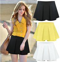 Wholesale Summer Plus Size Casual Shorts Saia Feminino Mid waist Chiffon Pleated Slim Hot Skirt Shorts Women Multicolor c39