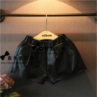 Wholesale New all match Bermudas infantil short jardineira girls PU leather shorts for kids shorts black joggers children clothing