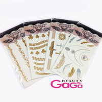 Wholesale BeautyGaGa Supply Fashion Silver Gold Metalic Water Transfer Temporary Tattoos Sticker Designs