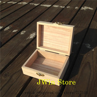 wooden jewelry box - New Arrival zakka Paulownia Wood Small Wooden Box With Lid and Golden Lock Jewerally Storage Box Wedding Table Gift Box cm