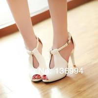 achat en gros de sandales hautes mince-Gros-2015 femme sandales nouvelles pompes simples chaussures à talons hauts sandales talons minces sexy chaussures femmes de chaussures à bout ouvert, plus la taille 34-43