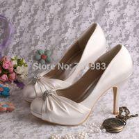 bridal fabric - Colors Custom Handmade Pump Elegant High Heeled Bridal Shoes Woman Wedding Ivory Satin