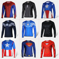 Wholesale Marvel Comics Super Heroes Captain America Spiderman Superman Batman Iron Man Long Sleeve T Shirt Clothing Costume Tee Shirt Biker T Shirts