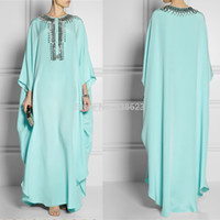 Cheap DAE2381 Free Shipping New Mint Green beautiful Ladies Abaya Dubai Kaftan Caftan Evening Dress