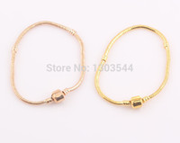 european bracelet - Women European Clasp Snake Chain Bracelet Bangle Gold Plated fit for Pandora Beads Charms NO LOGO FEAL ZB148