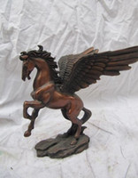 Wholesale Chinese classical red copper carvings winged horse Art Deco statue