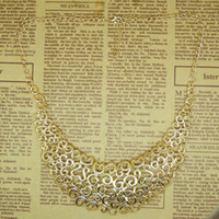 beaded collar necklace pattern - Fashion vintage gold false collar cutout carved decorative pattern necklace accessories pendant necklaces pendants ories cx120