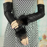 fashion fingerless leather gloves - Fashion Women Leather Gloves Winter Warm Lace Buckle Belts Bow Bowknot Mittens Long Faux Fur Party Fingerless Gloves GA0036