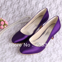shoes dropship - Custom Handmade Satin Wedding Shoes Purple Closed Toes Evening Pumps Dropship