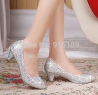 Wholesale women s high heels women s pumps paillette red sole rhinestone bride crystal bridesmaid party shoes wedding shoes