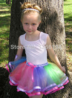 double ribbon - Baby Girl Rainbow Tutu Skirts Hot Selling Pettiskirt Tutu Skirts With Ribbon Trimmed Double Ribbon Edged Skirts