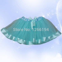 Wholesale factory retail pc ribbon sewn trim tutu skirts baby gril fluffy sky blue tulle skirts tutu with ribbon edged