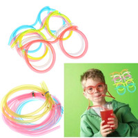 Wholesale 5 Packs Colorful Funny Novelty Amazing Eyeglass Frames Multi colors Drinking Straws children toys H12576