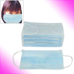 Wholesale 50 Non woven Fabric Medicinal Dental Disposable Face Mask Light Blue
