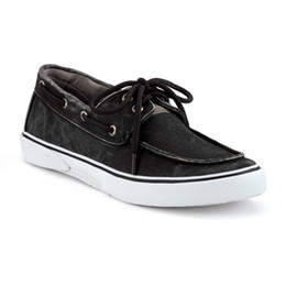 Wholesale Sperry Top Sider Men s Halyard Eye Salt Washed Black Boat Shoes Canvas
