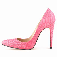 Wholesale Sanke Leather Stiletto High Heels Pumps Women New Designer Slip on Pumps Pointed Toe Wedding Shoes Woman On Sale Snake