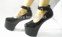 20cm high heels - New women summer black PU leather No heels sexy shoes CM high heels hoof sole men autumn shoes with locks plus size