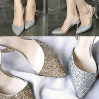 Cheap Wholesale-Gold Silver Glitter Closed Pointed Toes Pump Slingbacks Women 3 Inch Stiletto High Heels For Prom Wedding Dress Shoes Sandals
