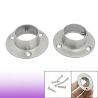 steel flange - 2 Stainless Steel Closet Rod Flange Socket for mm Pole