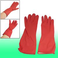 long rubber gloves - Pair Household Kitchen Dish Clean Latex Rubber Antislip Long Work Gloves