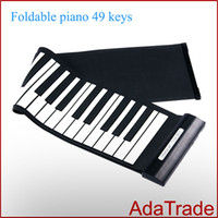Acheter 49 main clé roulé de piano-Livraison gratuite USB Hand Roll Piano 49 Clavier Soft Silicone Piano Portable Roll Up Piano Claviers Musique MIDI Piano électronique