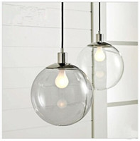 Wholesale Designer lights Crystal Ball Continental Restaurant Bar Single Minimalist Glass Ball Pendant Light Clear Glass Ball