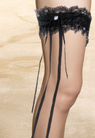 Wholesale Dl black long ribbon crystal sets of thigh lace ribbon ankle sock