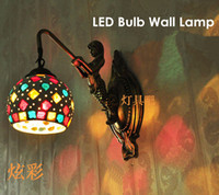 Wholesale Fashion wall lamp modern brief bedside wall lamp stained glass wall lamp LED Bulb E27 W