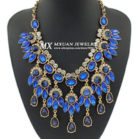 Wholesale European and USA Fashion High Quality Resin Star Charm Rhinestone Jewelry Women Necklace NK229 Sparkling Water Droplets