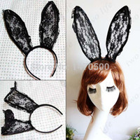 Cheap hot sale black lace rabbit bunny ears Plum blossom pattern hair bands headbands party accessory Christmas